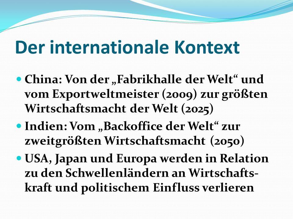 Der internationale Kontext China: Von der Fabrikhalle der Welt und vom Exportweltmeister (2009) zur größten Wirtschaftsmacht der Welt (2025) Indien: V