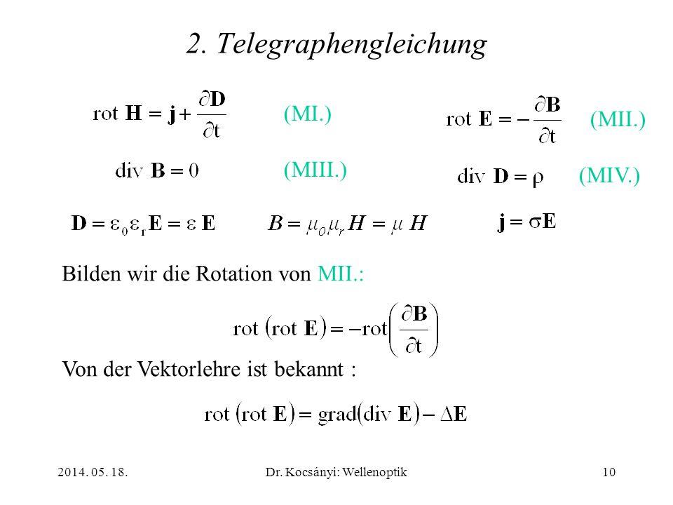 2014. 05. 18.Dr. Kocsányi: Wellenoptik10 2. Telegraphengleichung (MI.) (MII.) (MIII.) (MIV.) Bilden wir die Rotation von MII.: Von der Vektorlehre ist