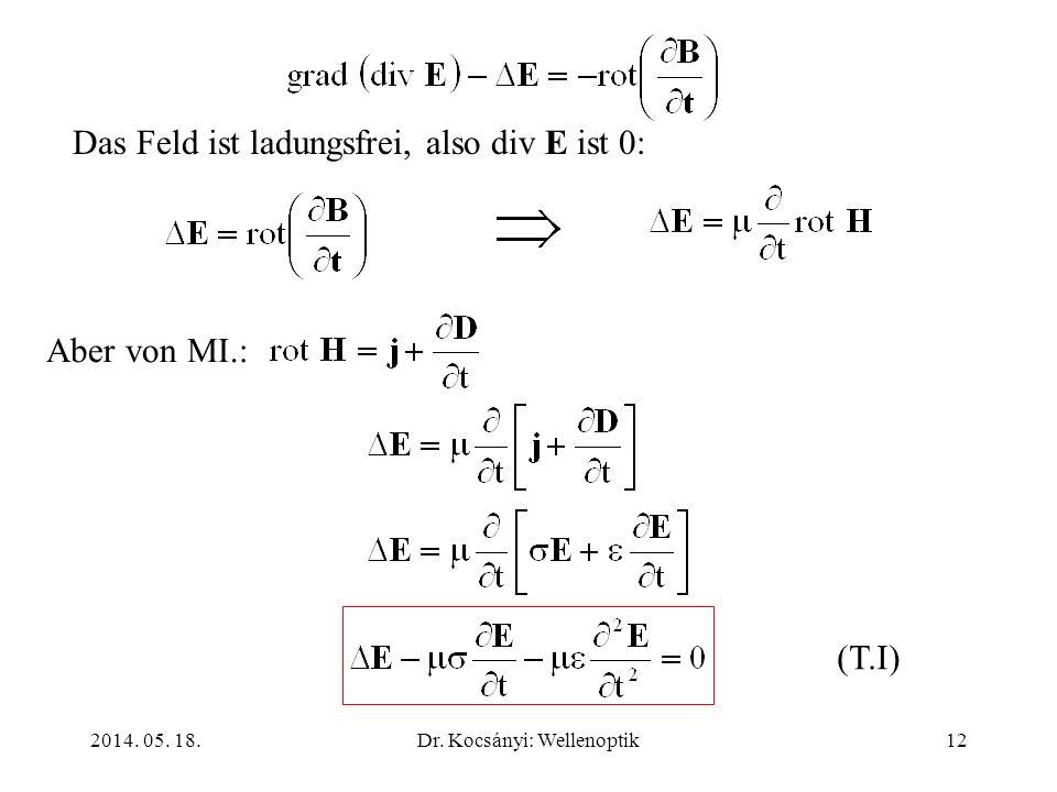 2014. 05. 18.Dr. Kocsányi: Wellenoptik12 Das Feld ist ladungsfrei, also div E ist 0: Aber von MI.: (T.I)