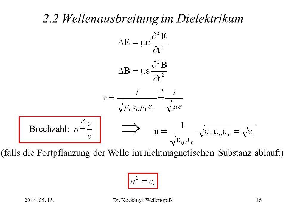 2014. 05. 18.Dr. Kocsányi: Wellenoptik16 2.2 Wellenausbreitung im Dielektrikum Brechzahl: (falls die Fortpflanzung der Welle im nichtmagnetischen Subs