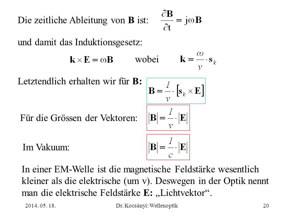 2014. 05. 18.Dr. Kocsányi: Wellenoptik20 Die zeitliche Ableitung von B ist: und damit das Induktionsgesetz: wobei Letztendlich erhalten wir für B: Für