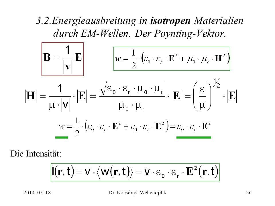 2014. 05. 18.Dr. Kocsányi: Wellenoptik26 3.2.Energieausbreitung in isotropen Materialien durch EM-Wellen. Der Poynting-Vektor. Die Intensität: