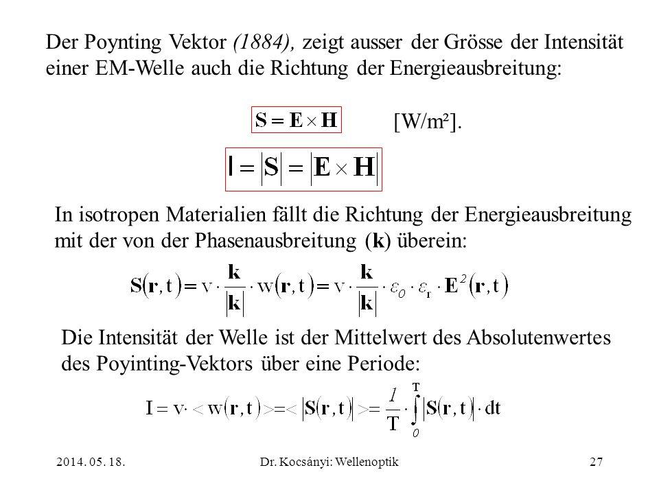 2014. 05. 18.Dr. Kocsányi: Wellenoptik27 Der Poynting Vektor (1884), zeigt ausser der Grösse der Intensität einer EM-Welle auch die Richtung der Energ