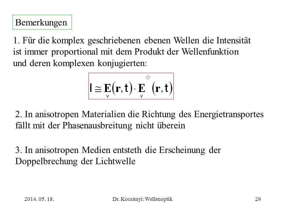 2014. 05. 18.Dr. Kocsányi: Wellenoptik29 1. Für die komplex geschriebenen ebenen Wellen die Intensität ist immer proportional mit dem Produkt der Well