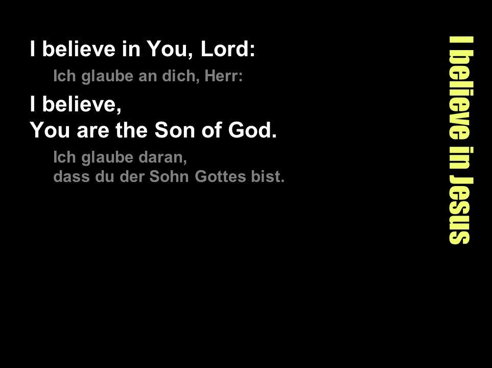 I believe in Jesus I believe in You, Lord: Ich glaube an dich, Herr: I believe, You are the Son of God. Ich glaube daran, dass du der Sohn Gottes bist
