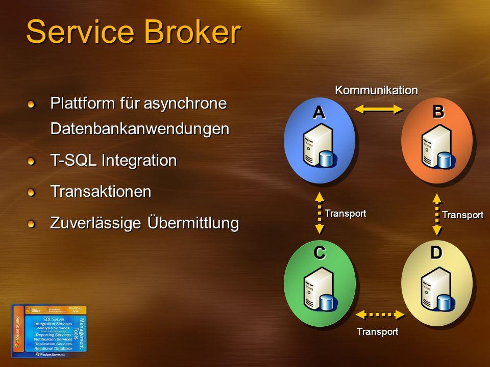 Service Broker A B KommunikationC Transport D Transport Transport Plattform für asynchrone Datenbankanwendungen T-SQL Integration Transaktionen Zuverl