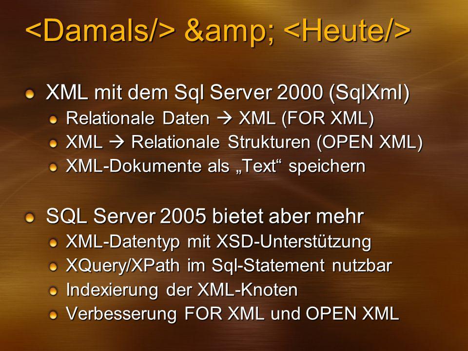 & & XML mit dem Sql Server 2000 (SqlXml) Relationale Daten XML (FOR XML) XML Relationale Strukturen (OPEN XML) XML-Dokumente als Text speicher