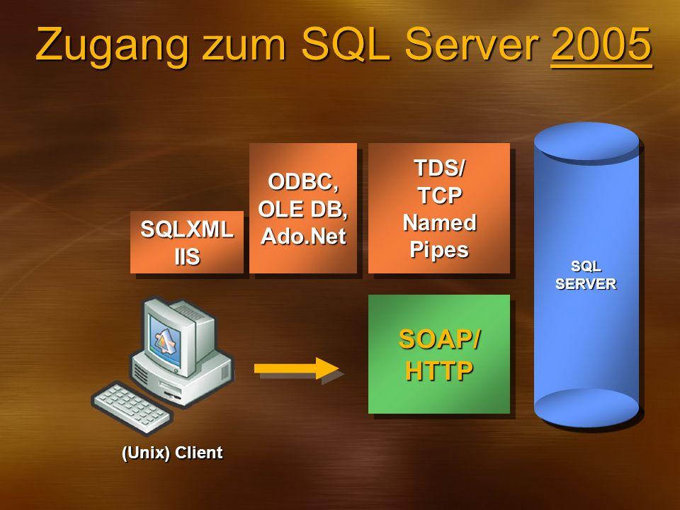 Zugang zum SQL Server 2005 TDS/TCPNamedPipesTDS/TCPNamedPipesODBC, OLE DB, Ado.NetODBC, Ado.Net SQL SERVER SOAP/HTTPSOAP/HTTP SQLXMLIISSQLXMLIIS (Unix