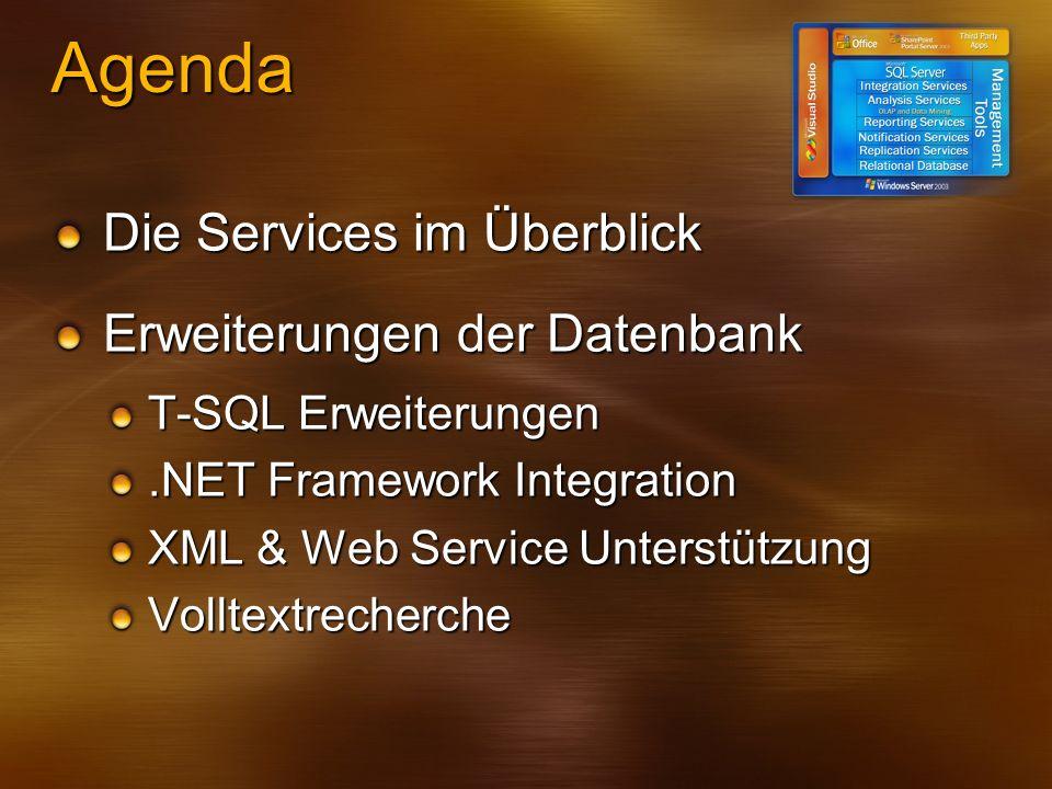 Demo: CONTAINS -- Sucht gezielt nach dem Ausdruck SELECT Volltext FROM VolltextTabelle WHERE CONTAINS(Volltext, Auto AND CD AND NOT Monitor) -- Zeigt zusätzlich noch den Ranking-Wert an SELECT Volltext, CT.Rank FROM VolltextTabelle JOIN CONTAINSTABLE(VolltextTabelle, Volltext, Auto AND CD AND NOT Monitor);