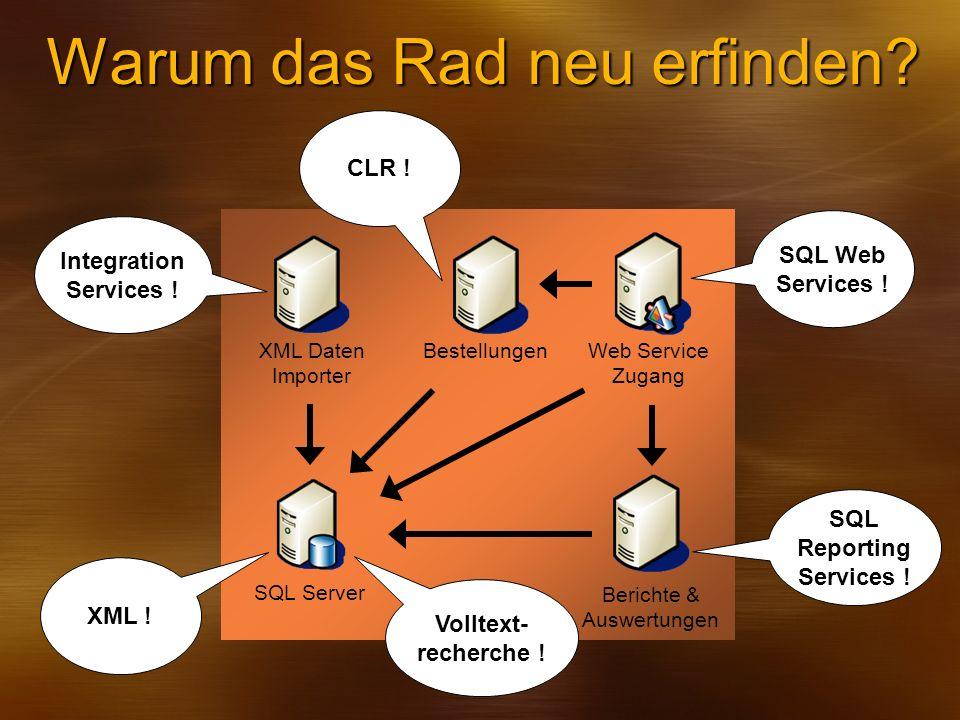 SQL Server XML Daten Importer Web Service Zugang Berichte & Auswertungen Bestellungen Warum das Rad neu erfinden? SQL Web Services ! SQL Reporting Ser