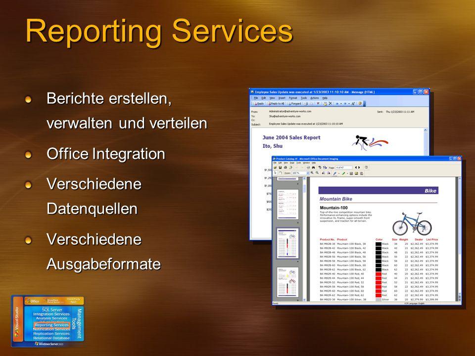 Reporting Services Berichte erstellen, verwalten und verteilen Office Integration Verschiedene Datenquellen Verschiedene Ausgabeformate