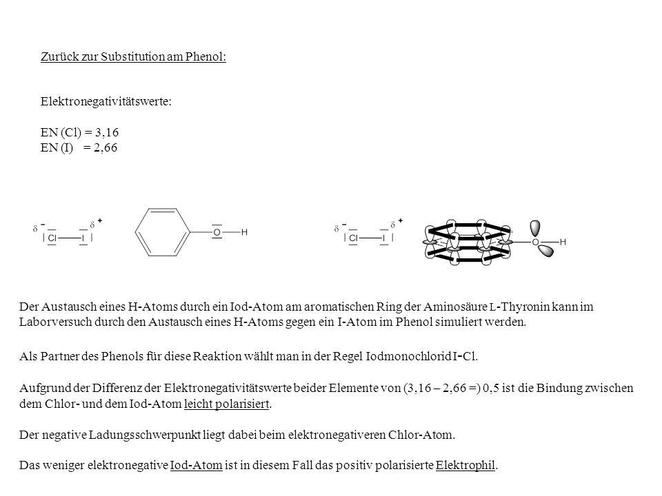 Der Austausch eines H-Atoms durch ein Iod-Atom am aromatischen Ring der Aminosäure L -Thyronin kann im Laborversuch durch den Austausch eines H-Atoms gegen ein I-Atom im Phenol simuliert werden.