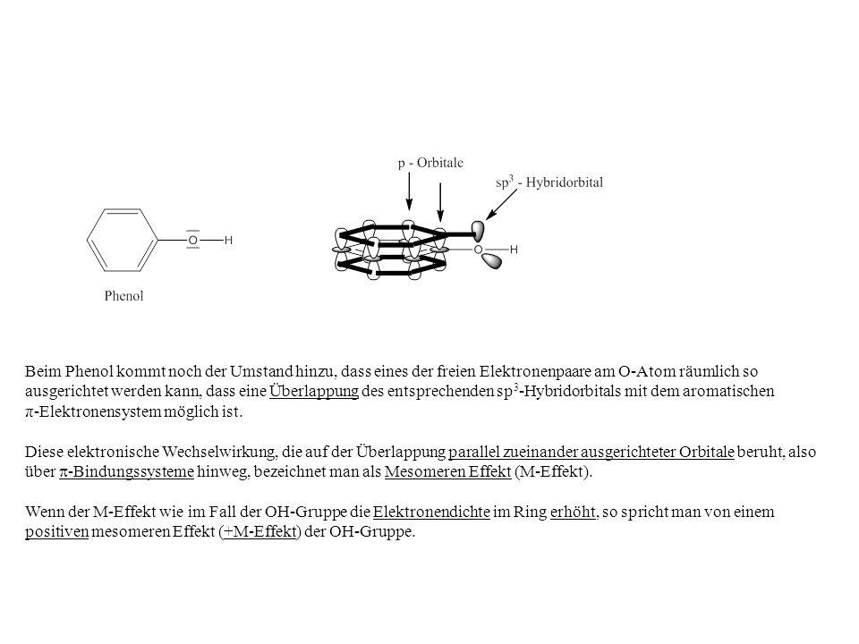 Beim Phenol kommt noch der Umstand hinzu, dass eines der freien Elektronenpaare am O-Atom räumlich so ausgerichtet werden kann, dass eine Überlappung des entsprechenden sp 3 -Hybridorbitals mit dem aromatischen π-Elektronensystem möglich ist.