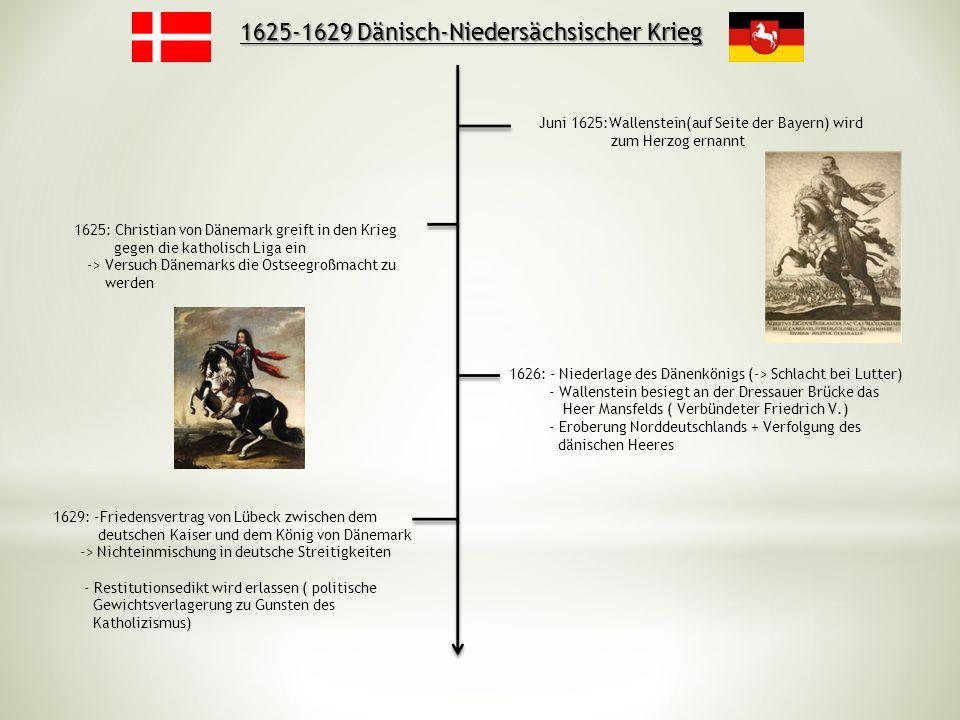 1625-1629 Dänisch-Niedersächsischer Krieg 1625: Christian von Dänemark greift in den Krieg gegen die katholisch Liga ein -> Versuch Dänemarks die Osts