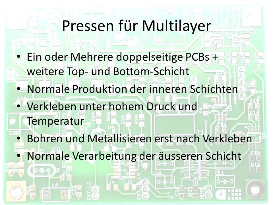 Pressen für Multilayer Ein oder Mehrere doppelseitige PCBs + weitere Top- und Bottom-Schicht Normale Produktion der inneren Schichten Verkleben unter