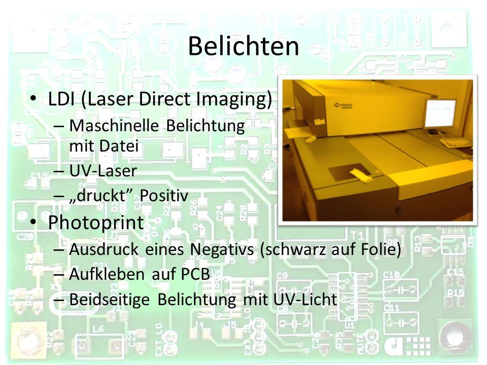 Belichten LDI (Laser Direct Imaging) – Maschinelle Belichtung mit Datei – UV-Laser – druckt Positiv Photoprint – Ausdruck eines Negativs (schwarz auf