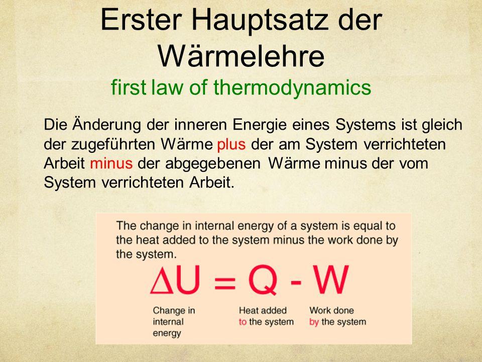 Erster Hauptsatz der Wärmelehre first law of thermodynamics Die Änderung der inneren Energie eines Systems ist gleich der zugeführten Wärme plus der am System verrichteten Arbeit minus der abgegebenen Wärme minus der vom System verrichteten Arbeit.