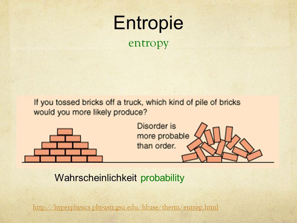 Entropie entropy http://hyperphysics.phy-astr.gsu.edu/hbase/therm/entrop.html Wahrscheinlichkeit probability