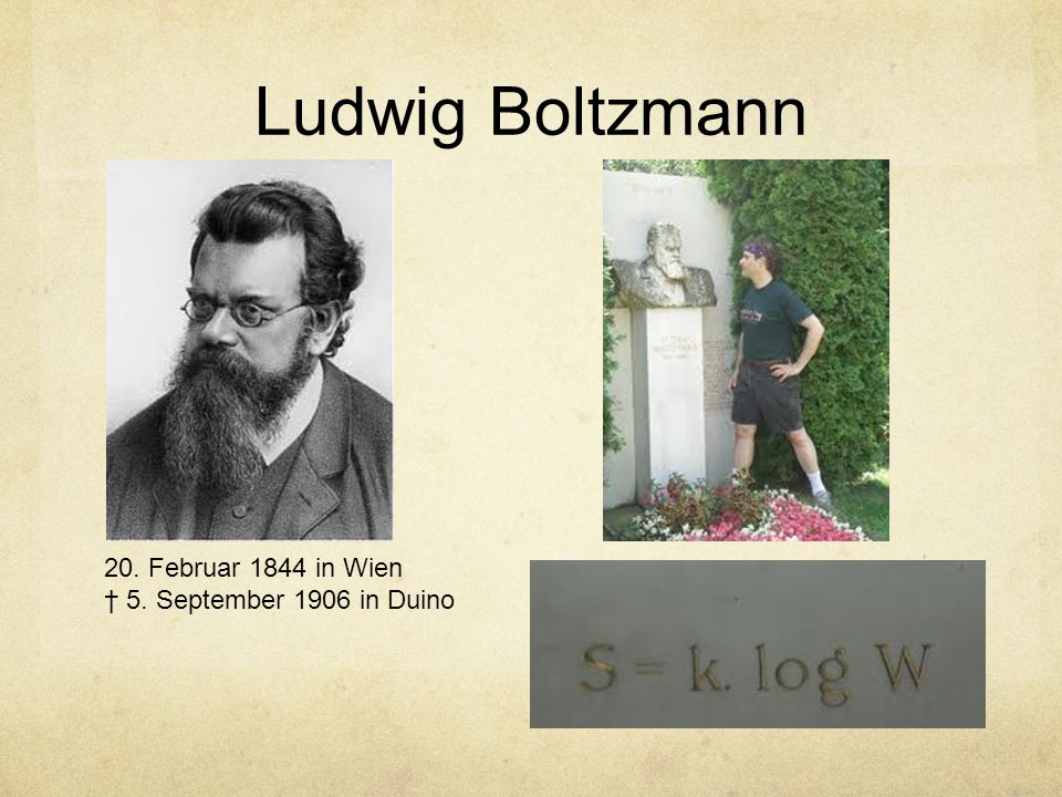 Ludwig Boltzmann 20. Februar 1844 in Wien 5. September 1906 in Duino