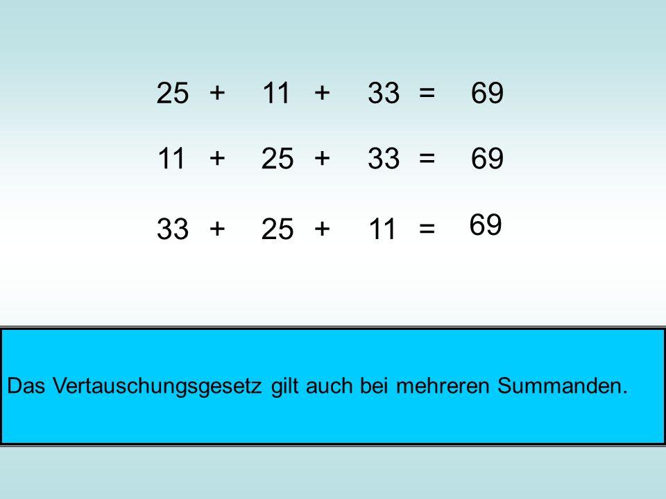 11+33=69+25 +33=+1169 25+11=+33 69 Das Vertauschungsgesetz gilt auch bei mehreren Summanden.