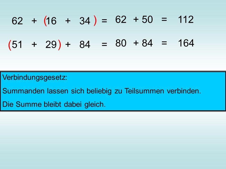 62 + 16 + 34 = ( ) 62+ 50 =112 51 + 29 + 84 = ( ) 80+ 84 =164 Verbindungsgesetz: Summanden lassen sich beliebig zu Teilsummen verbinden. Die Summe ble