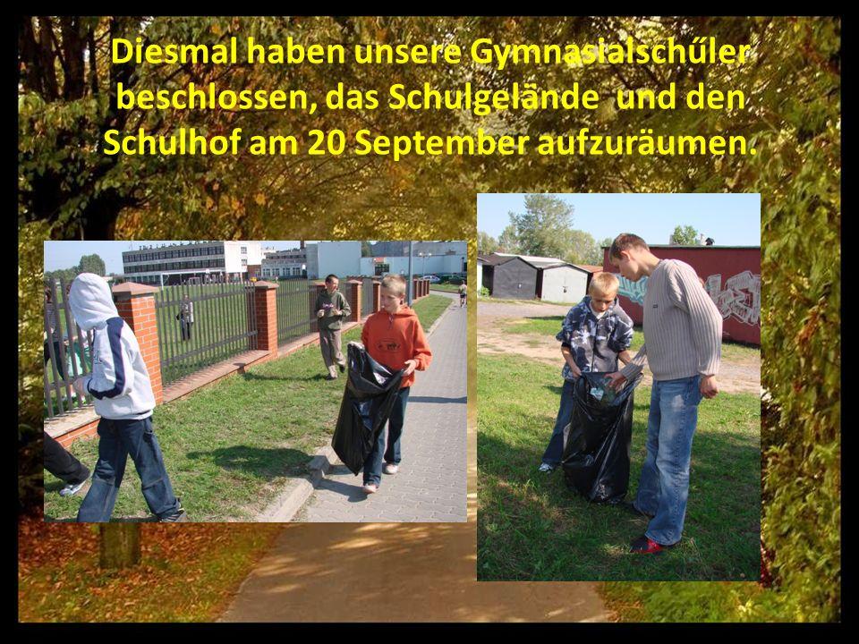 Diesmal haben unsere Gymnasialschűler beschlossen, das Schulgelände und den Schulhof am 20 September aufzuräumen.