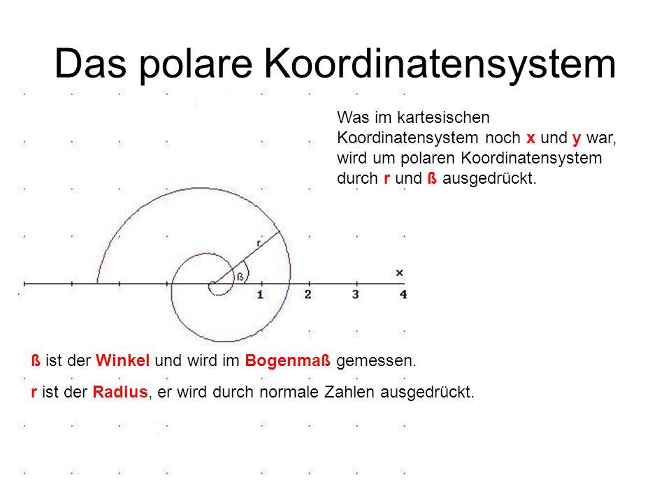 Das polare Koordinatensystem Was im kartesischen Koordinatensystem noch x und y war, wird um polaren Koordinatensystem durch r und ß ausgedrückt. ß is