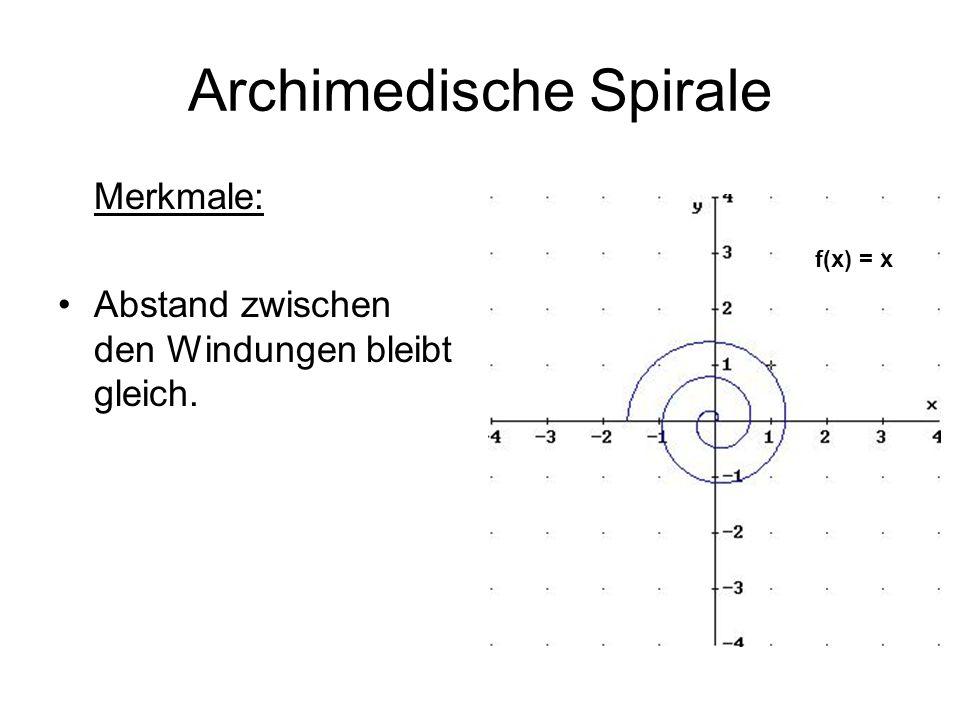 Exponentielle Spiralen Merkmale: Der Abstand zwischen den Windungen ändert sich.