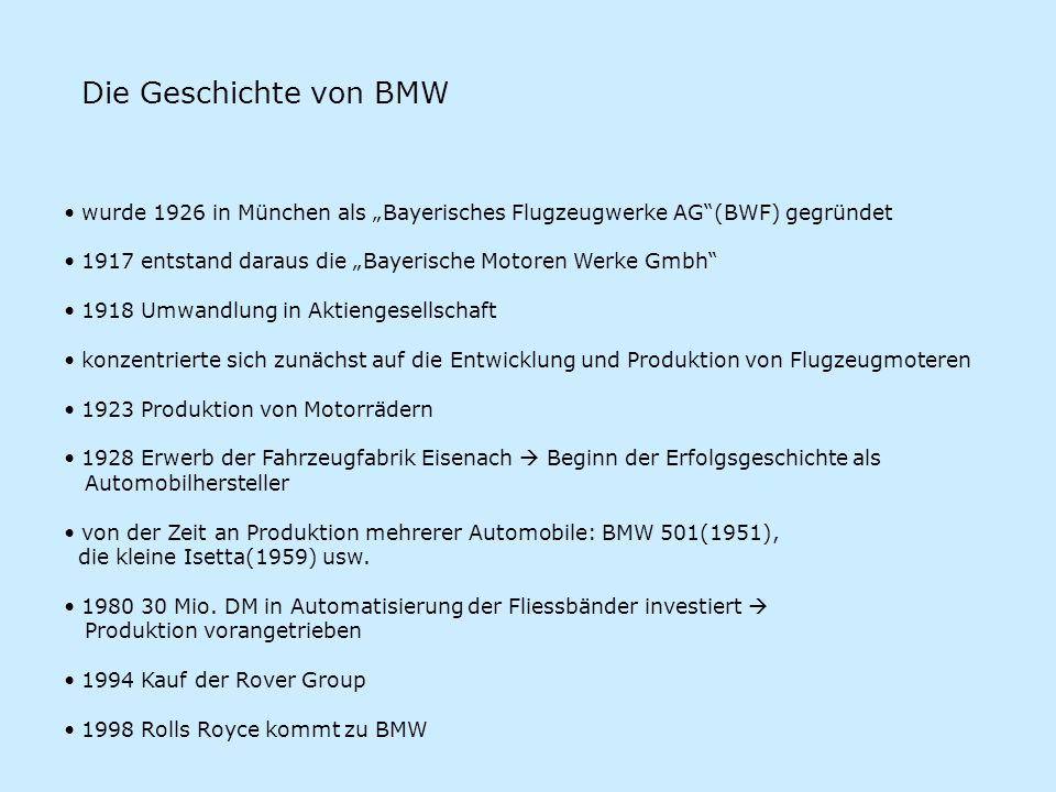 Die Geschichte von BMW wurde 1926 in München als Bayerisches Flugzeugwerke AG(BWF) gegründet 1917 entstand daraus die Bayerische Motoren Werke Gmbh 19