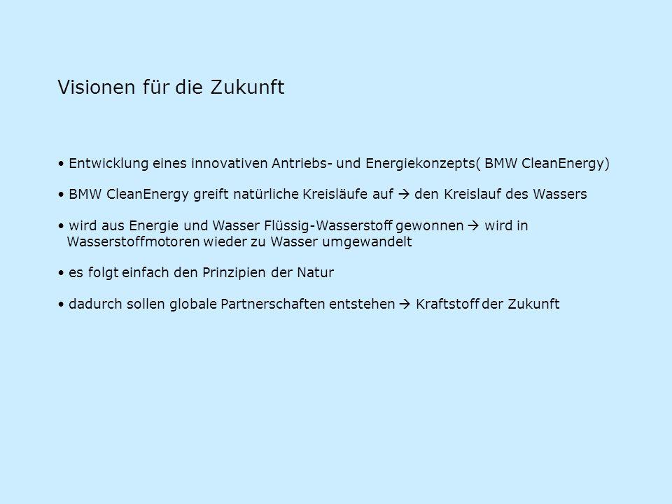 Visionen für die Zukunft Entwicklung eines innovativen Antriebs- und Energiekonzepts( BMW CleanEnergy) BMW CleanEnergy greift natürliche Kreisläufe au