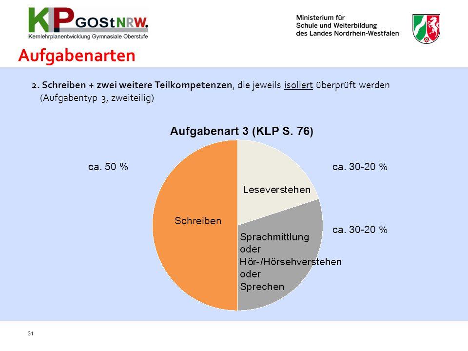 31 2. Schreiben + zwei weitere Teilkompetenzen, die jeweils isoliert überprüft werden (Aufgabentyp 3, zweiteilig) + Aufgabenarten Schreiben ca. 50 %ca