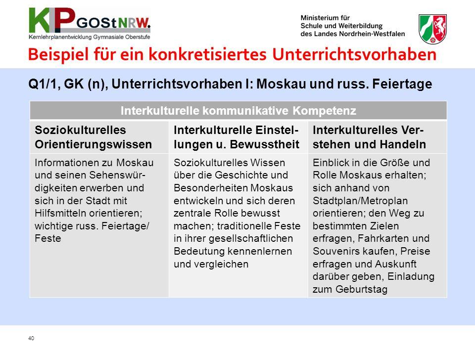 Beispiel für ein konkretisiertes Unterrichtsvorhaben 40 Q1/1, GK (n), Unterrichtsvorhaben I: Moskau und russ. Feiertage Interkulturelle kommunikative