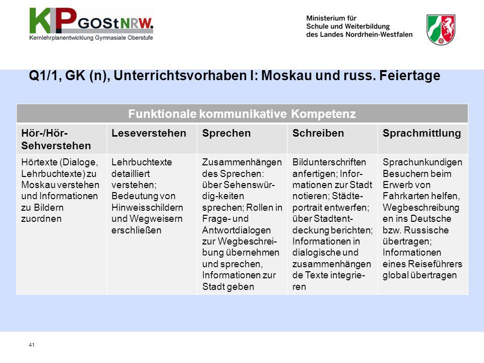 Q1/1, GK (n), Unterrichtsvorhaben I: Moskau und russ. Feiertage 41 Funktionale kommunikative Kompetenz Hör-/Hör- Sehverstehen LeseverstehenSprechenSch