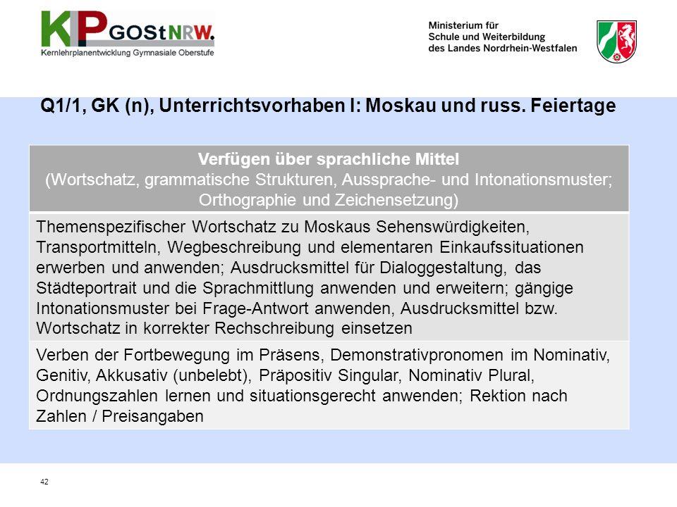 Q1/1, GK (n), Unterrichtsvorhaben I: Moskau und russ. Feiertage 42 Verfügen über sprachliche Mittel (Wortschatz, grammatische Strukturen, Aussprache-