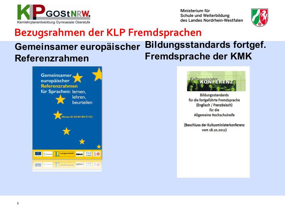 Bezugsrahmen der KLP Fremdsprachen Bildungsstandards fortgef. Fremdsprache der KMK 9 Gemeinsamer europäischer Referenzrahmen