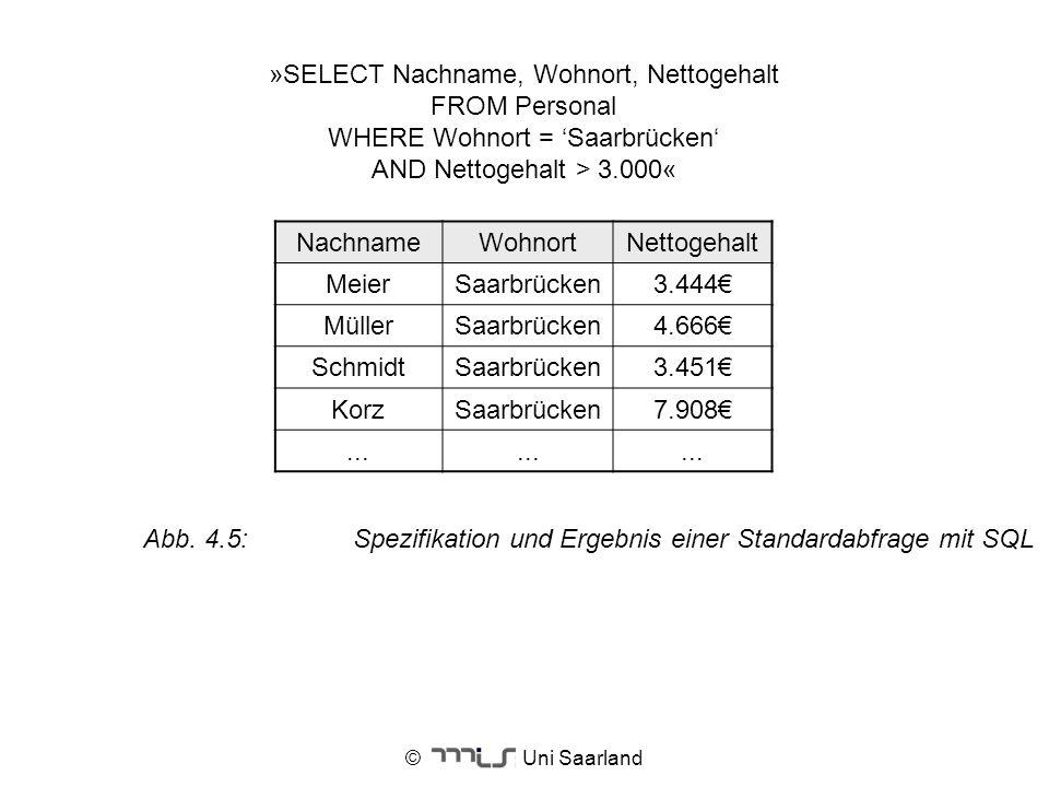 © Uni Saarland »SELECT Nachname, Wohnort, Nettogehalt FROM Personal WHERE Wohnort = Saarbrücken AND Nettogehalt > 3.000« NachnameWohnortNettogehalt Me