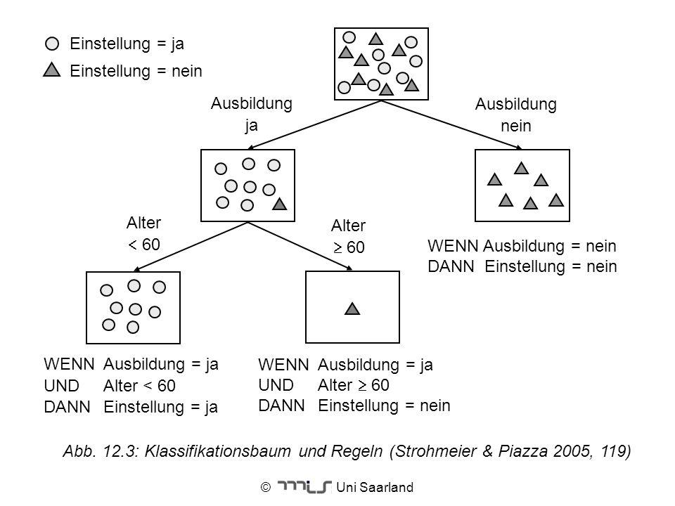 © Uni Saarland Alter 60 Ausbildung nein Ausbildung ja WENNAusbildung = ja UNDAlter < 60 DANNEinstellung = ja WENNAusbildung = ja UNDAlter 60 DANNEinst