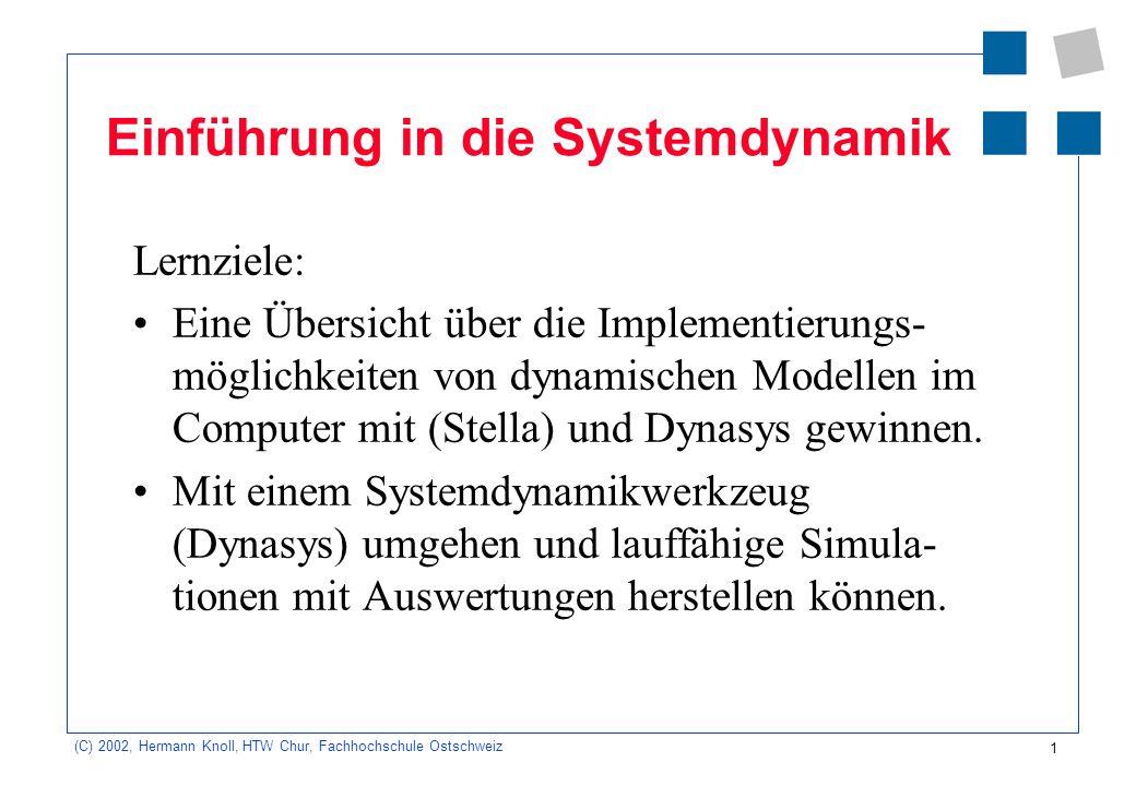 1 (C) 2002, Hermann Knoll, HTW Chur, Fachhochschule Ostschweiz Einführung in die Systemdynamik Lernziele: Eine Übersicht über die Implementierungs- mö