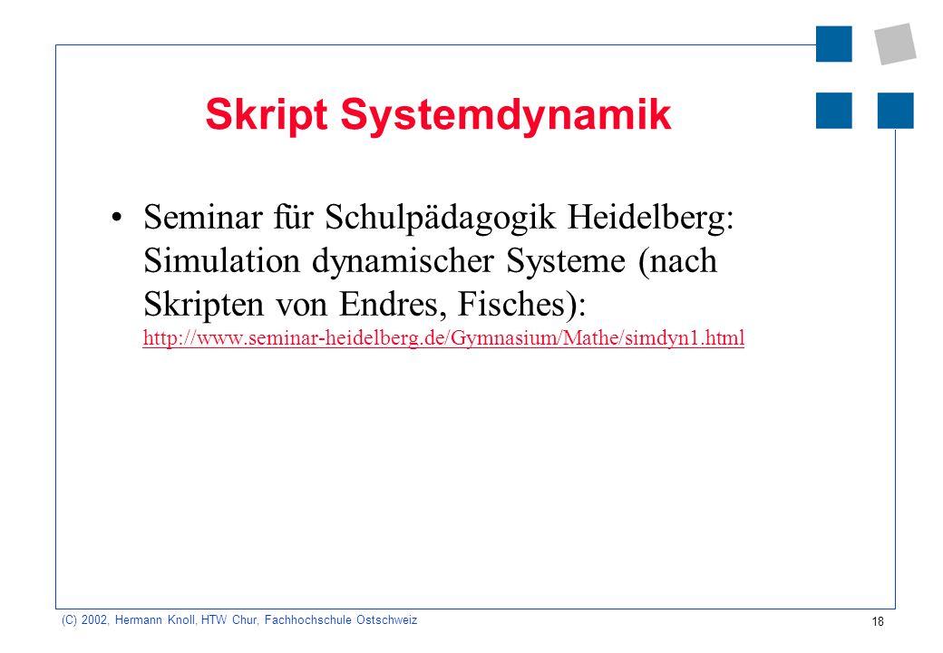 18 (C) 2002, Hermann Knoll, HTW Chur, Fachhochschule Ostschweiz Skript Systemdynamik Seminar für Schulpädagogik Heidelberg: Simulation dynamischer Sys