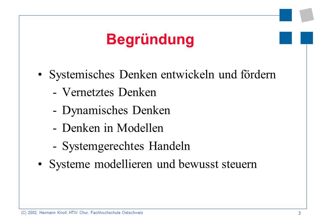 3 (C) 2002, Hermann Knoll, HTW Chur, Fachhochschule Ostschweiz Begründung Systemisches Denken entwickeln und fördern -Vernetztes Denken -Dynamisches D