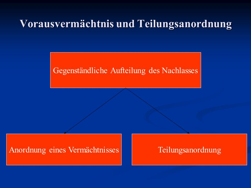 Vorausvermächtnis und Teilungsanordnung Gegenständliche Aufteilung des Nachlasses Anordnung eines VermächtnissesTeilungsanordnung