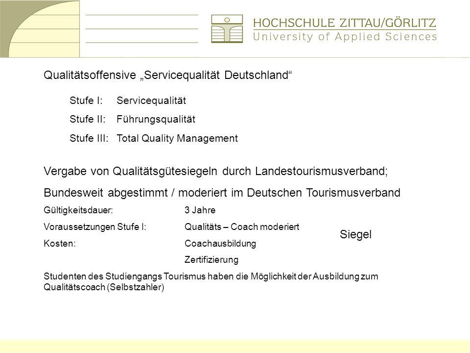 Qualitätsoffensive Servicequalität Deutschland Stufe I:Servicequalität Stufe II:Führungsqualität Stufe III:Total Quality Management Vergabe von Qualit