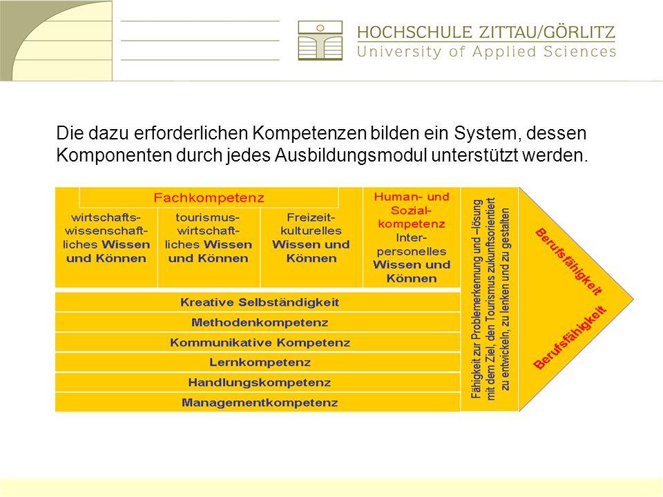Die dazu erforderlichen Kompetenzen bilden ein System, dessen Komponenten durch jedes Ausbildungsmodul unterstützt werden.