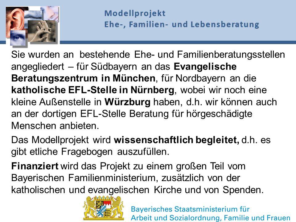 Sie wurden an bestehende Ehe- und Familienberatungsstellen angegliedert – für Südbayern an das Evangelische Beratungszentrum in München, für Nordbayer