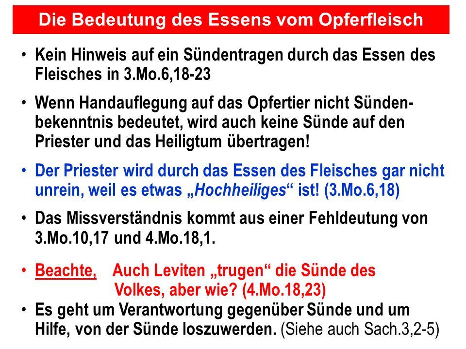 Seite 118PP_M50.ppt Heiligtum – Folien Teil 2www.hopeandmore.at Kein Hinweis auf ein Sündentragen durch das Essen des Fleisches in 3.Mo.6,18-23 Wenn H
