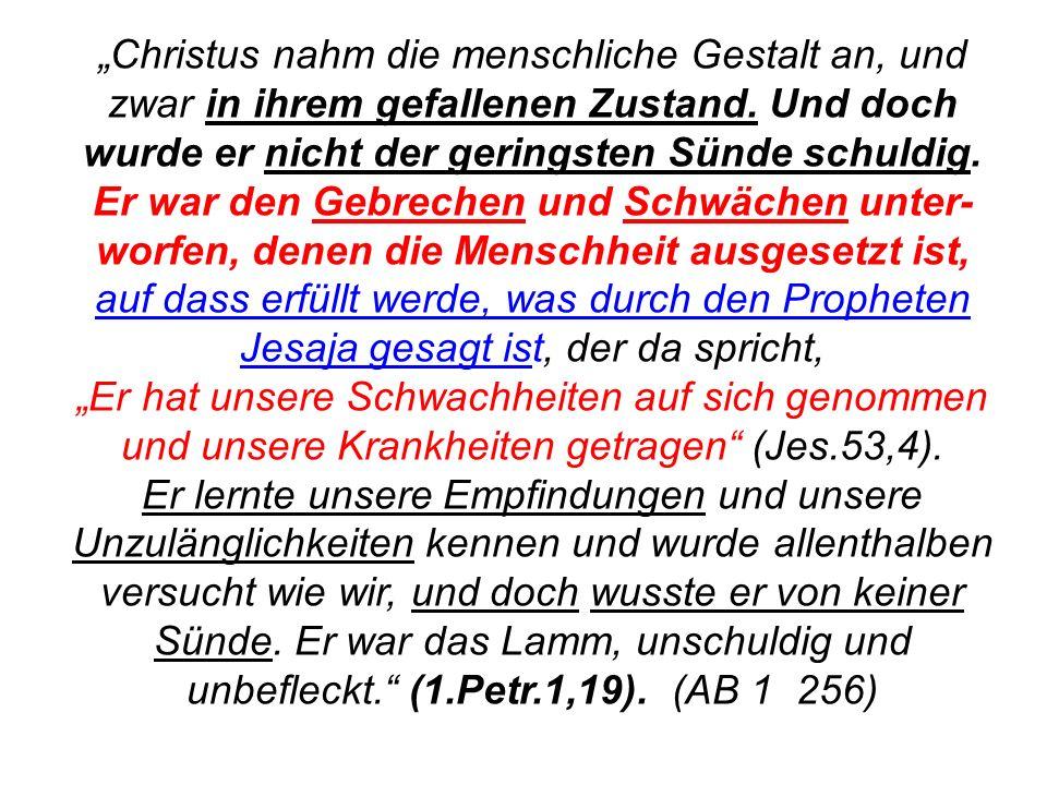 Seite 136PP_M50.ppt Heiligtum – Folien Teil 2www.hopeandmore.at Christus nahm die menschliche Gestalt an, und zwar in ihrem gefallenen Zustand. Und do
