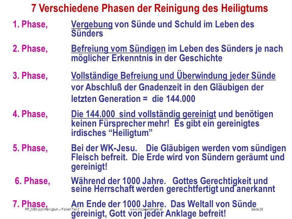 Seite 25PP_M50.ppt Heiligtum – Folien Teil 2www.hopeandmore.at 7 Verschiedene Phasen der Reinigung des Heiligtums 1. Phase, Vergebung von Sünde und Sc