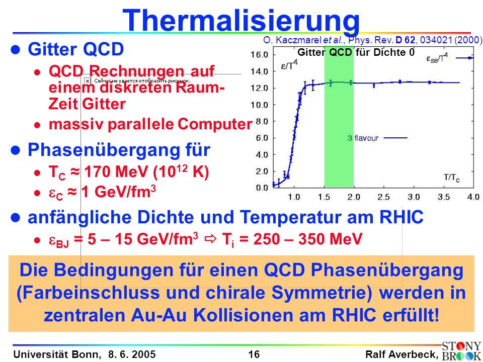 Ralf Averbeck, 16 Universität Bonn, 8. 6. 2005 Thermalisierung l Gitter QCD l QCD Rechnungen auf einem diskreten Raum- Zeit Gitter l massiv parallele