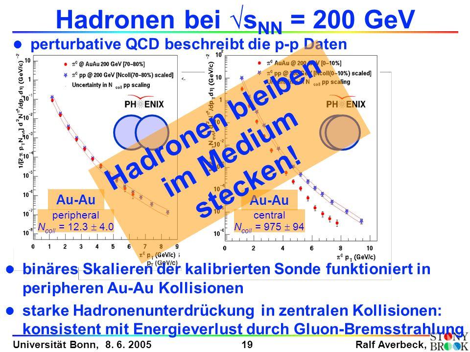 Ralf Averbeck, 19 Universität Bonn, 8. 6. 2005 Pionen in p-p peripheral N coll = 12.3 4.0 central N coll = 975 94 Au-Au Hadronen bei s NN = 200 GeV l