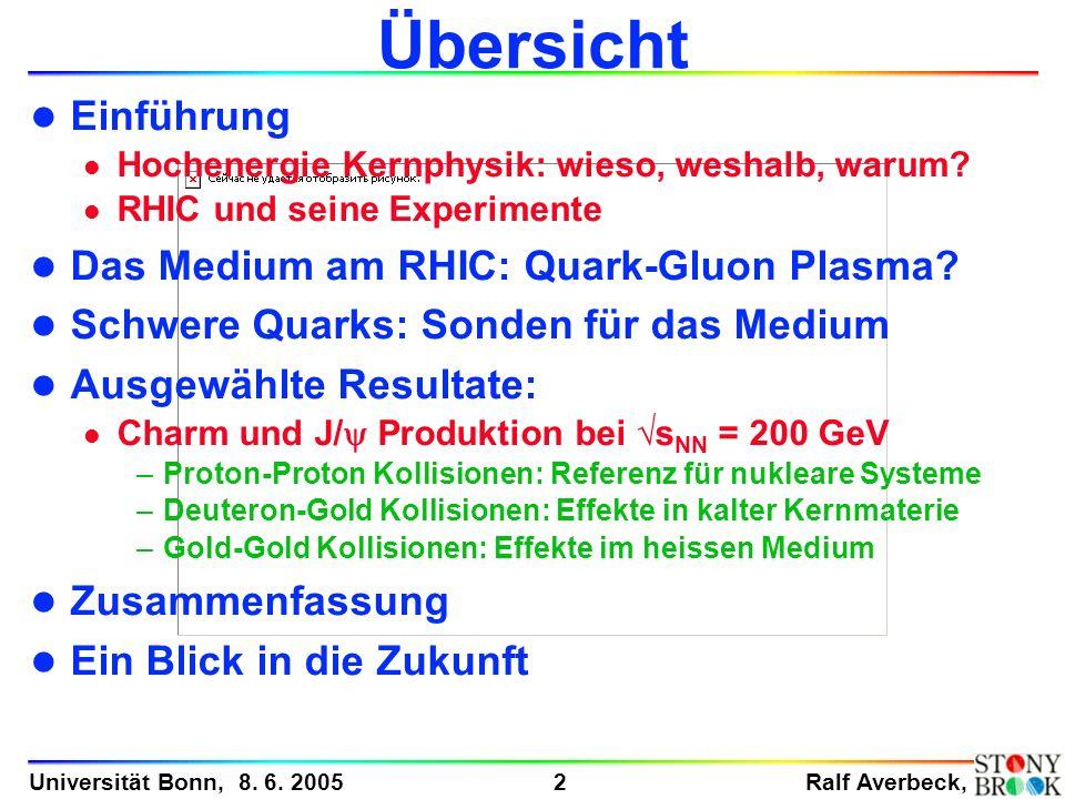 Ralf Averbeck, 2 Universität Bonn, 8. 6. 2005 Übersicht l Einführung l Hochenergie Kernphysik: wieso, weshalb, warum? l RHIC und seine Experimente l D